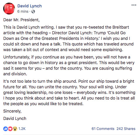 """Screen_Shot_2018_06_26_at_2.15.08_PM David Lynch says his Trump endorsement was out of context, asks Trump to """"turn the ship around"""""""