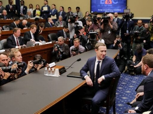 Facebook co-founder and CEO Mark Zuckerberg prepares to testify before the House in April 2018.