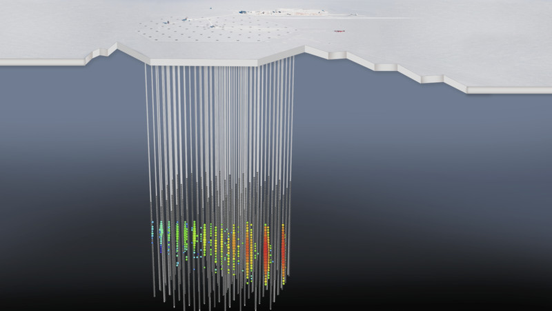 IceCube_wNeutrino An enormous ice cube at the South Pole is revealing mysteries about the universe