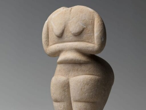 This Neolithic Cycladic stone sculpture is the Met's oldest piece of figurative art and it was probably made by a woman. It's from roughly 4500 to 4000 BC.