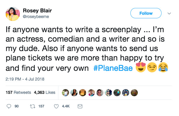 Screen_Shot_2018_07_11_at_10.13.07_AM Rosey Blair, the #PlaneBae matchmaker, apologizes for invading a woman's privacy