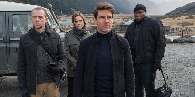 Simon Pegg, Rebecca Ferguson, Tom Cruise, and Ving Rhames in Mission: Impossible — Fallout