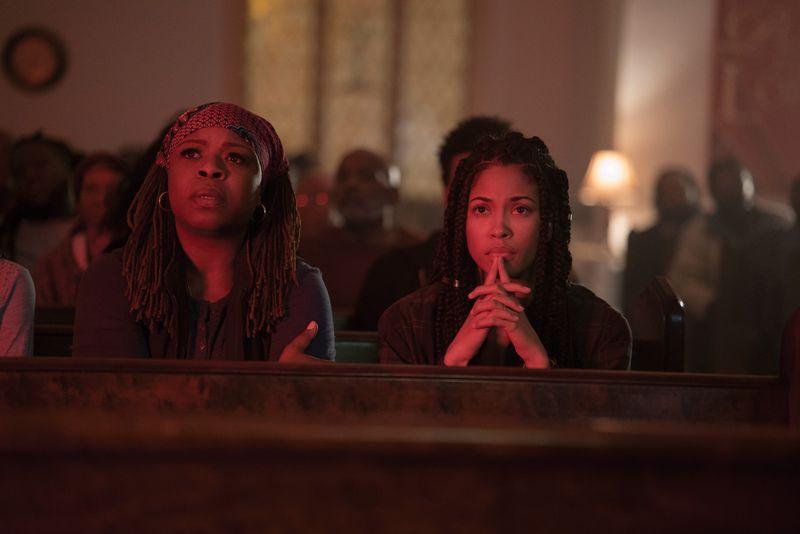 Dolores (Mugga) and Nya (Lex Scott Davis) take refuge in a church during the Experiment.