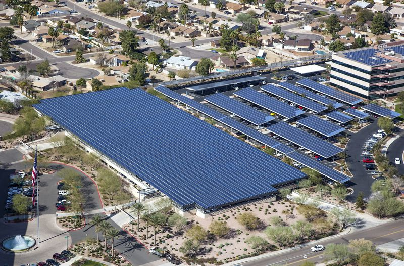 A solar-covered parking lot in Arizona.